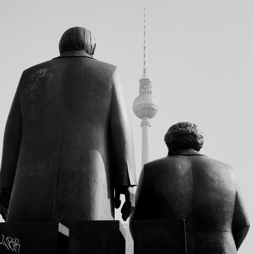 Marx and Engels statue and TV tower, Berlin